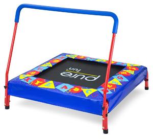Pure Fun Preschool Kids Trampoline with Handrail